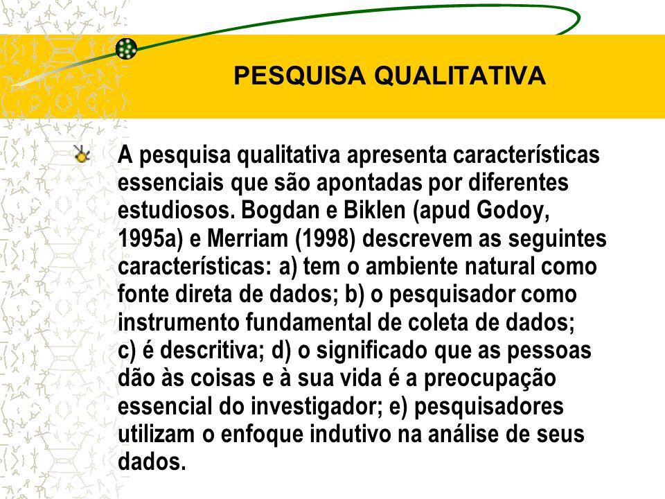PESQUISA QUALITATIVA A pesquisa qualitativa apresenta características essenciais que são apontadas por diferentes estudiosos.