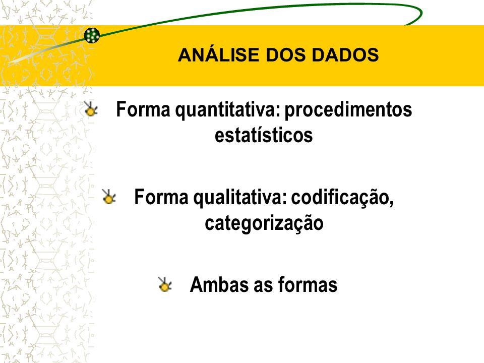 ANÁLISE DOS DADOS Forma quantitativa: procedimentos estatísticos Forma qualitativa: codificação, categorização Ambas as formas