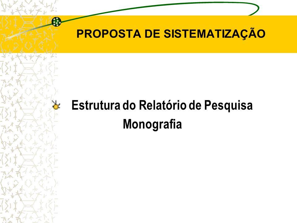 PROPOSTA DE SISTEMATIZAÇÃO Estrutura do Relatório de Pesquisa Monografia