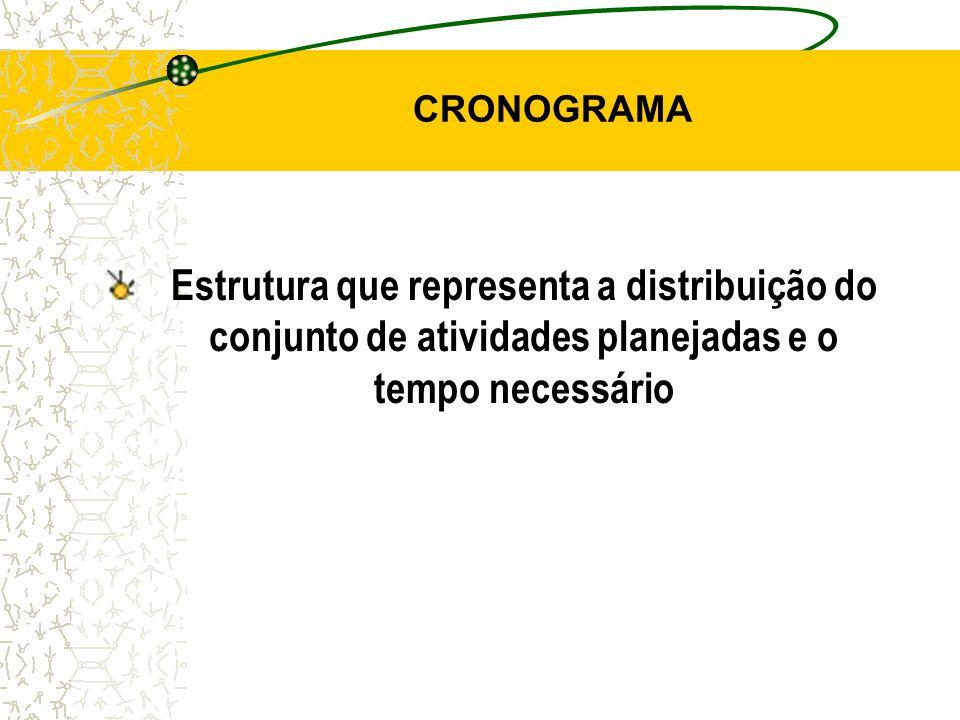 CRONOGRAMA Estrutura que representa a distribuição do conjunto de atividades planejadas e o tempo necessário