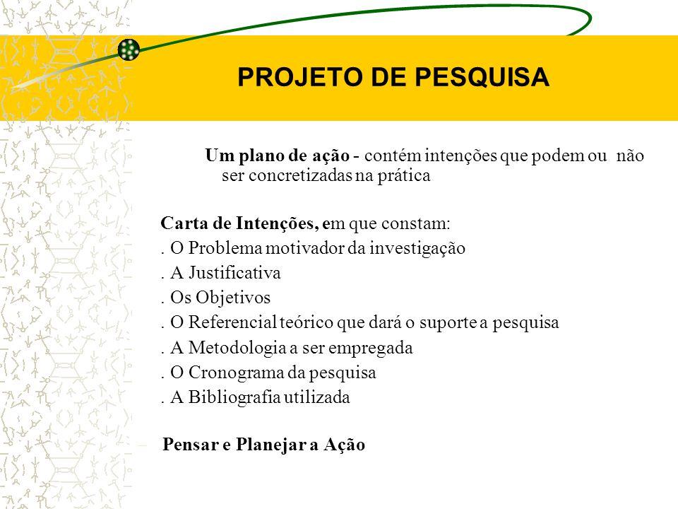 PROJETO DE PESQUISA Um plano de ação - contém intenções que podem ou não ser concretizadas na prática Carta de Intenções, em que constam:.