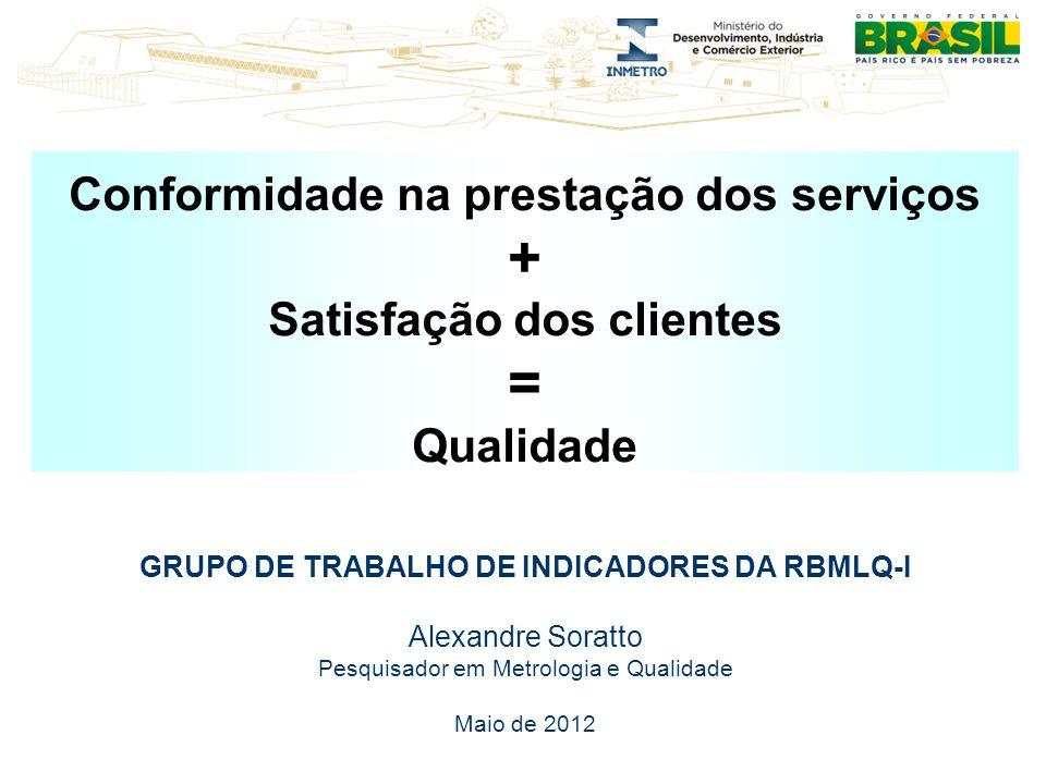 Conformidade na prestação dos serviços + Satisfação dos clientes = Qualidade GRUPO DE TRABALHO DE INDICADORES DA RBMLQ-I Alexandre Soratto Pesquisador