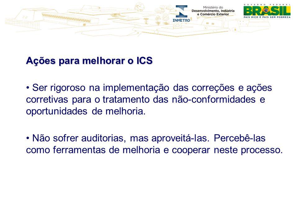 Ações para melhorar o ICS Ser rigoroso na implementação das correções e ações corretivas para o tratamento das não-conformidades e oportunidades de me