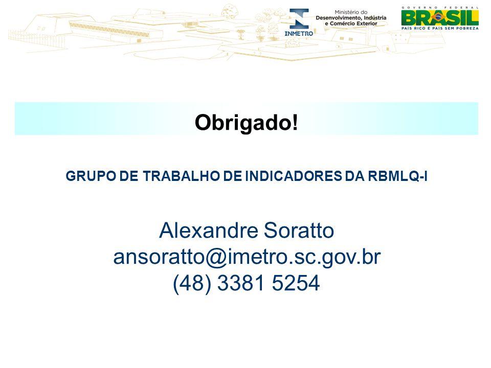 Obrigado! GRUPO DE TRABALHO DE INDICADORES DA RBMLQ-I Alexandre Soratto ansoratto@imetro.sc.gov.br (48) 3381 5254