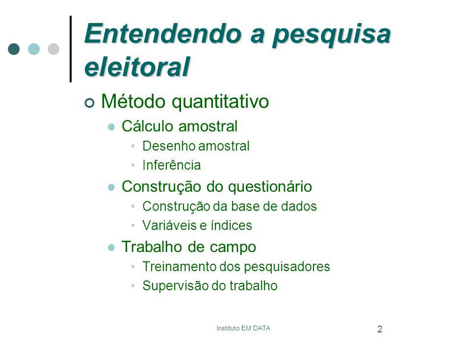 2 Entendendo a pesquisa eleitoral Método quantitativo Cálculo amostral Desenho amostral Inferência Construção do questionário Construção da base de da