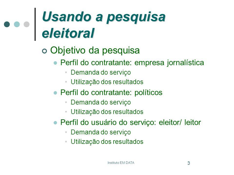 Instituto EM DATA 3 Usando a pesquisa eleitoral Objetivo da pesquisa Perfil do contratante: empresa jornalística Demanda do serviço Utilização dos res