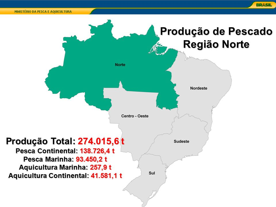 Produção Total: 274.015,6 t Pesca Continental: 138.726,4 t Pesca Marinha: 93.450,2 t Aquicultura Marinha: 257,9 t Aquicultura Continental: 41.581,1 t
