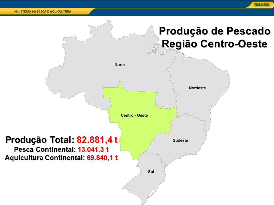 Produção Total: 82.881,4 t Pesca Continental: 13.041,3 t Aquicultura Continental: 69.840,1 t Produção de Pescado Região Centro-Oeste
