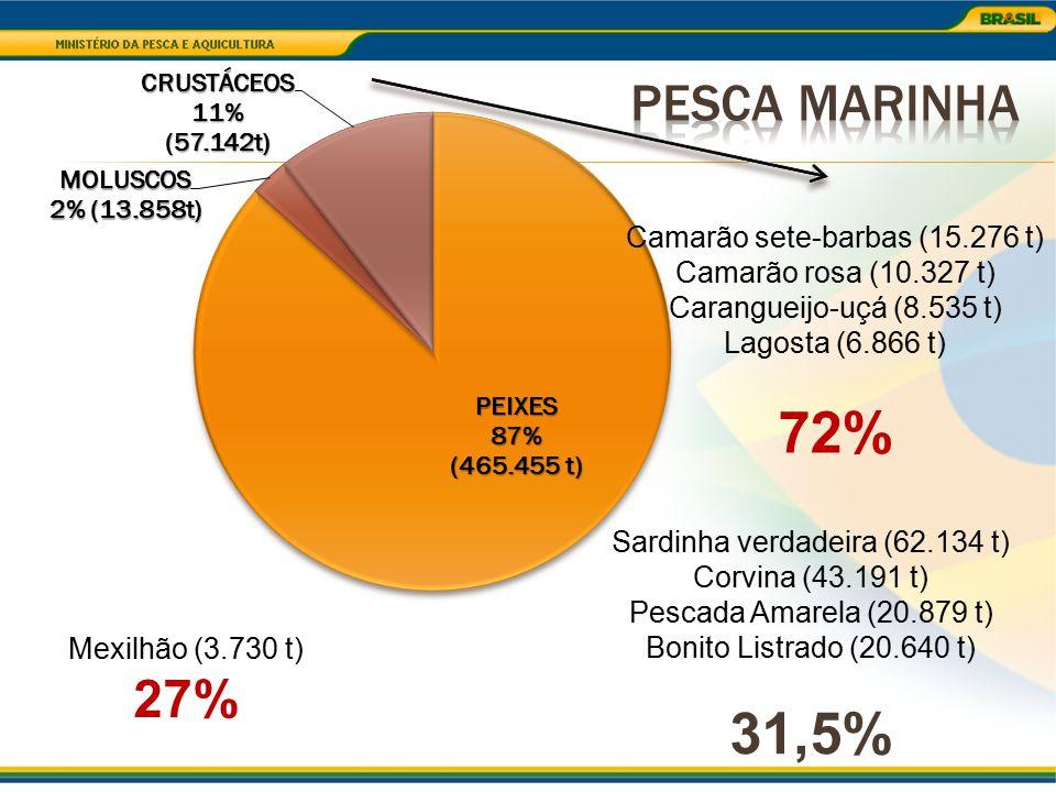 Sardinha verdadeira (62.134 t) Corvina (43.191 t) Pescada Amarela (20.879 t) Bonito Listrado (20.640 t) 31,5% Mexilhão (3.730 t) 27% Camarão sete-barb