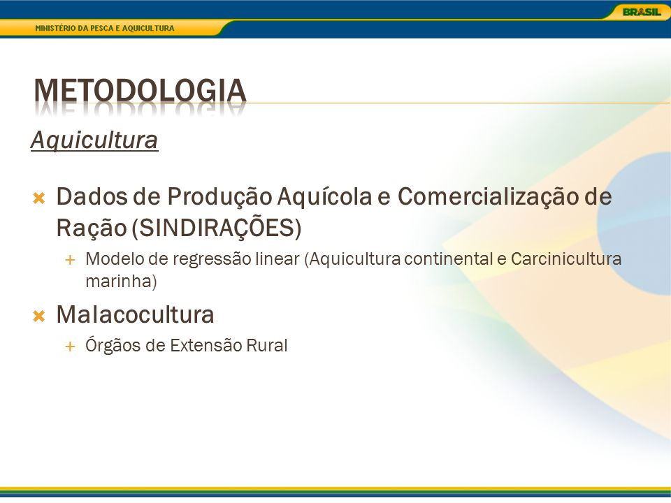 Aquicultura  Dados de Produção Aquícola e Comercialização de Ração (SINDIRAÇÕES)  Modelo de regressão linear (Aquicultura continental e Carcinicultu