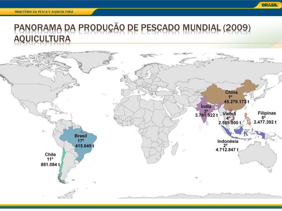 Sardinha verdadeira (62.134 t) Corvina (43.191 t) Pescada Amarela (20.879 t) Bonito Listrado (20.640 t) 31,5% Mexilhão (3.730 t) 27% Camarão sete-barbas (15.276 t) Camarão rosa (10.327 t) Carangueijo-uçá (8.535 t) Lagosta (6.866 t) 72%
