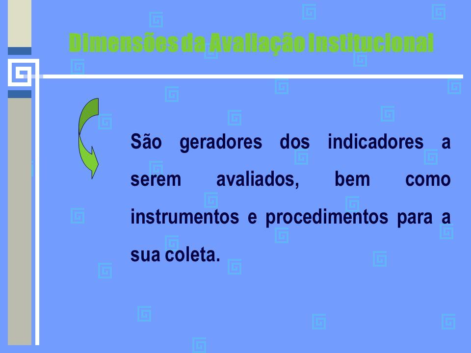 Dimensões da Avaliação Institucional São geradores dos indicadores a serem avaliados, bem como instrumentos e procedimentos para a sua coleta.