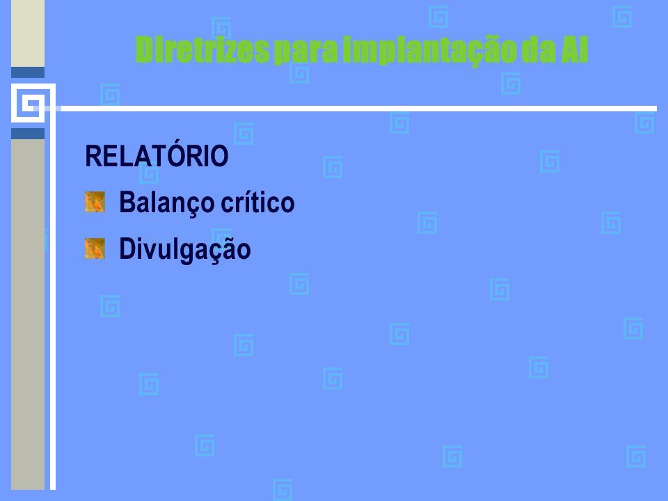 Diretrizes para implantação da AI RELATÓRIO Balanço crítico Divulgação