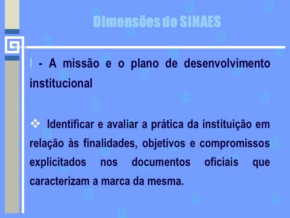Dimensões do SINAES I - A missão e o plano de desenvolvimento institucional  Identificar e avaliar a prática da instituição em relação às finalidades