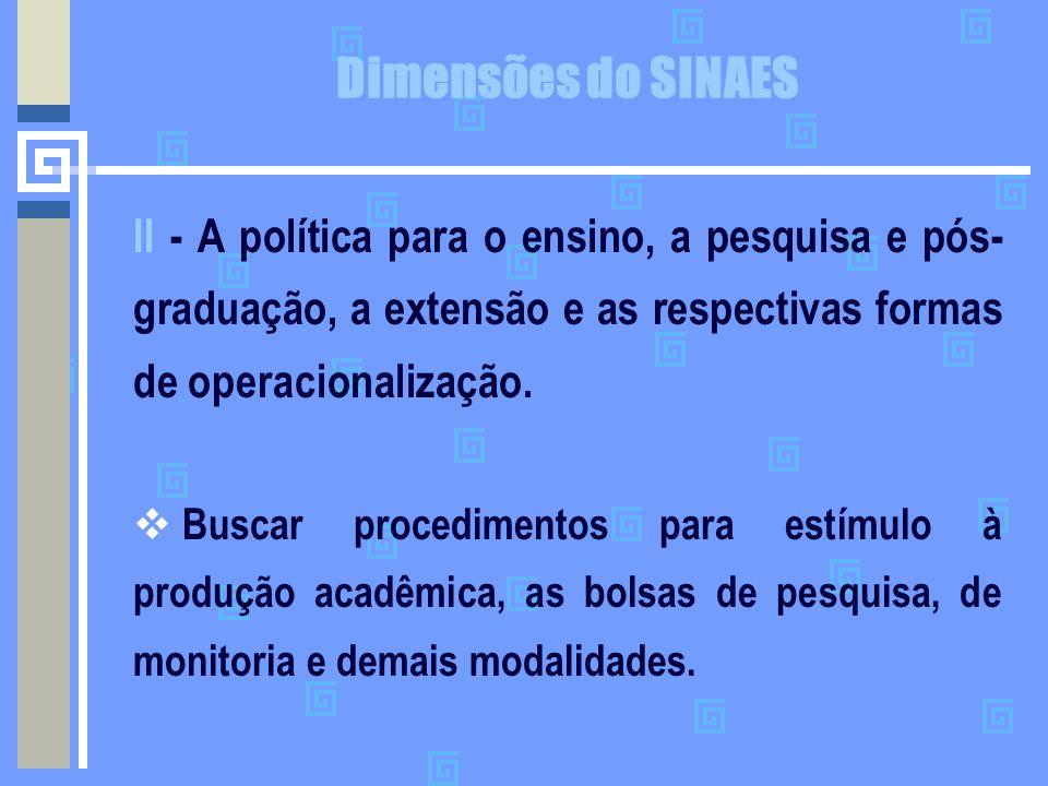 Dimensões do SINAES II - A política para o ensino, a pesquisa e pós- graduação, a extensão e as respectivas formas de operacionalização.  Buscar proc