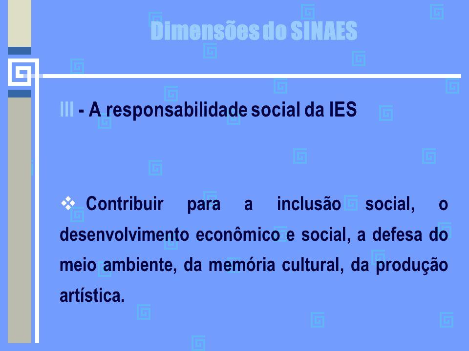 Dimensões do SINAES III - A responsabilidade social da IES  Contribuir para a inclusão social, o desenvolvimento econômico e social, a defesa do meio
