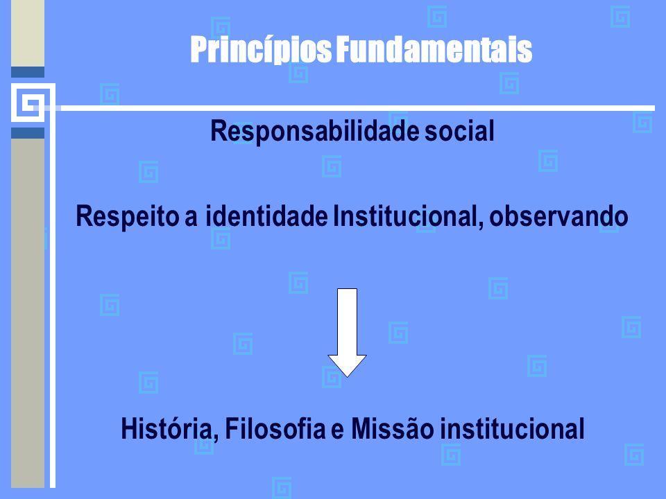 Princípios Fundamentais Responsabilidade social Respeito a identidade Institucional, observando História, Filosofia e Missão institucional