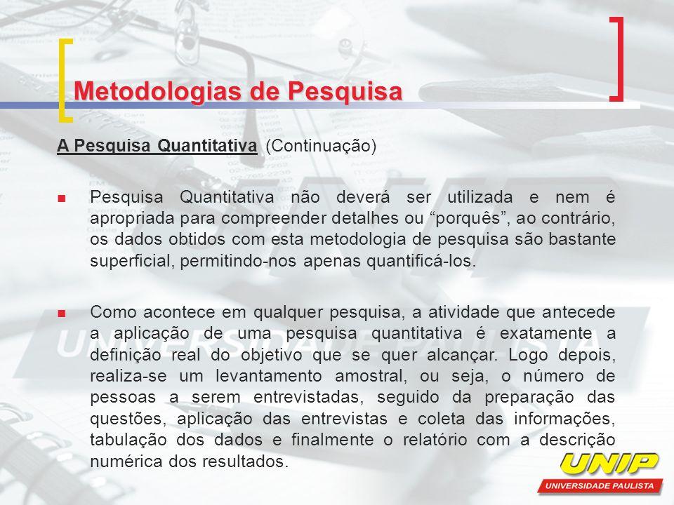 Metodologias de Pesquisa A Pesquisa Quantitativa (Continuação) Pesquisa Quantitativa não deverá ser utilizada e nem é apropriada para compreender deta