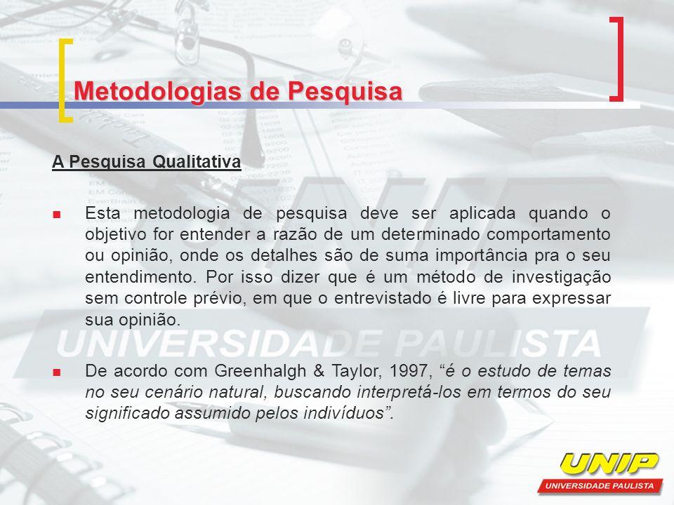 Metodologias de Pesquisa A Pesquisa Qualitativa Esta metodologia de pesquisa deve ser aplicada quando o objetivo for entender a razão de um determinad