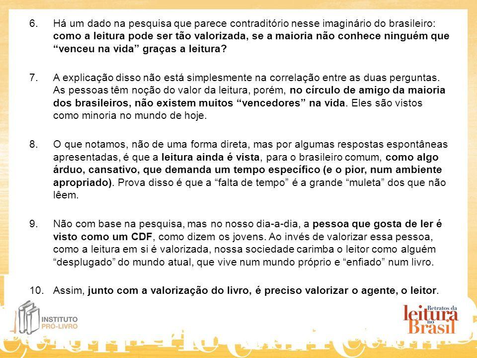 6.Há um dado na pesquisa que parece contraditório nesse imaginário do brasileiro: como a leitura pode ser tão valorizada, se a maioria não conhece ninguém que venceu na vida graças a leitura.