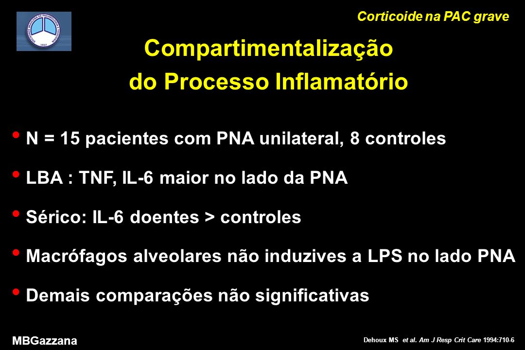 Corticoide na PAC grave MBGazzana Dehoux MS et al.