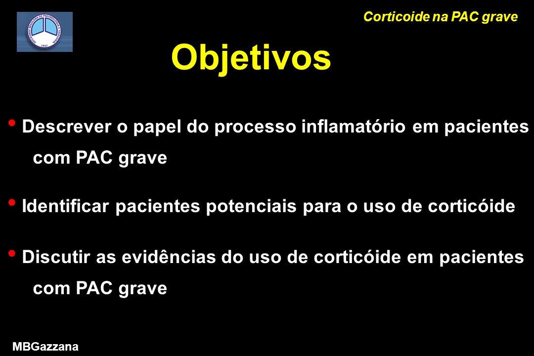 Objetivos Descrever o papel do processo inflamatório em pacientes com PAC grave Identificar pacientes potenciais para o uso de corticóide Discutir as evidências do uso de corticóide em pacientes com PAC grave Corticoide na PAC grave MBGazzana