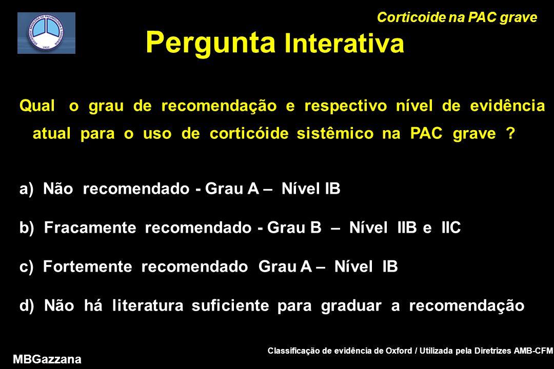 Pergunta Interativa Corticoide na PAC grave MBGazzana Qual o grau de recomendação e respectivo nível de evidência atual para o uso de corticóide sistêmico na PAC grave .