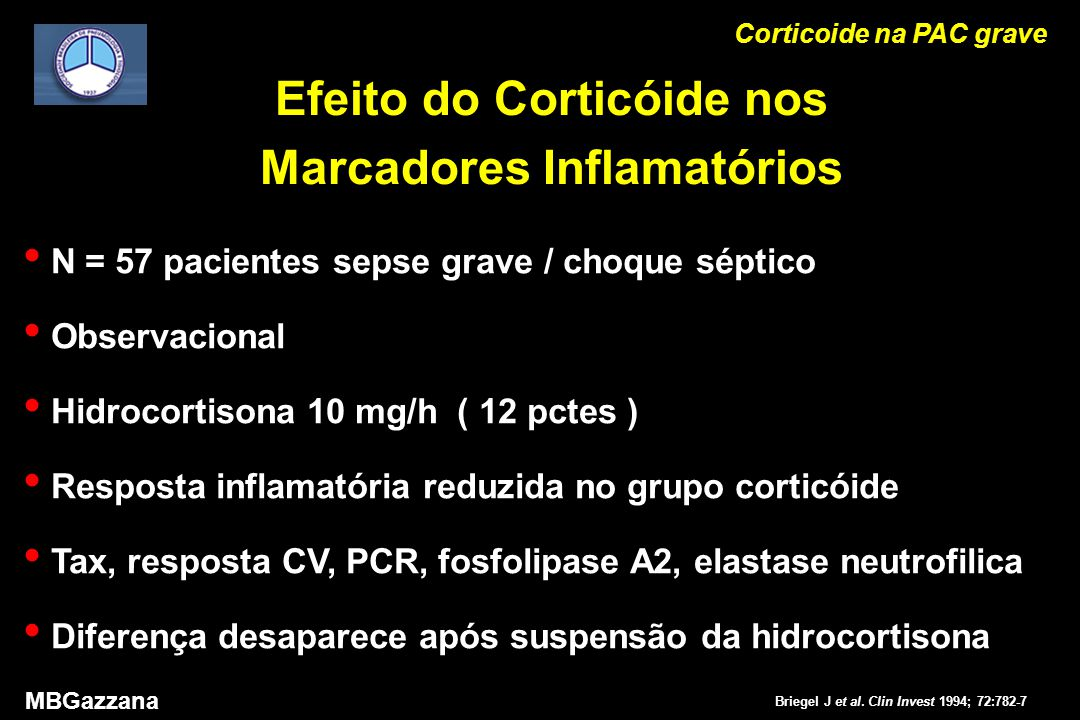 Corticoide na PAC grave MBGazzana Briegel J et al.