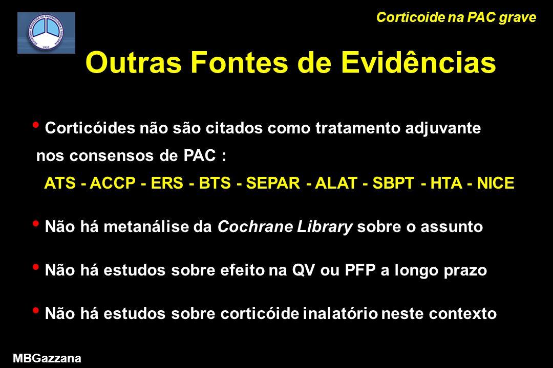 Outras Fontes de Evidências Corticóides não são citados como tratamento adjuvante nos consensos de PAC : ATS - ACCP - ERS - BTS - SEPAR - ALAT - SBPT - HTA - NICE Não há metanálise da Cochrane Library sobre o assunto Não há estudos sobre efeito na QV ou PFP a longo prazo Não há estudos sobre corticóide inalatório neste contexto Corticoide na PAC grave MBGazzana