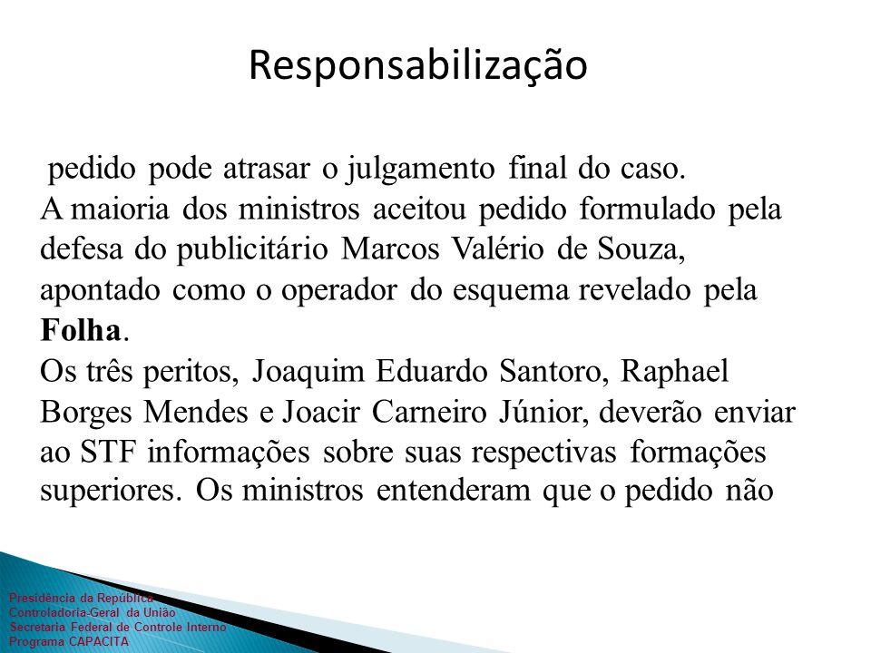 Presidência da República Controladoria-Geral da União Secretaria Federal de Controle Interno Programa CAPACITA 26/05/2011 - 17h05 pedido pode atrasar o julgamento final do caso.