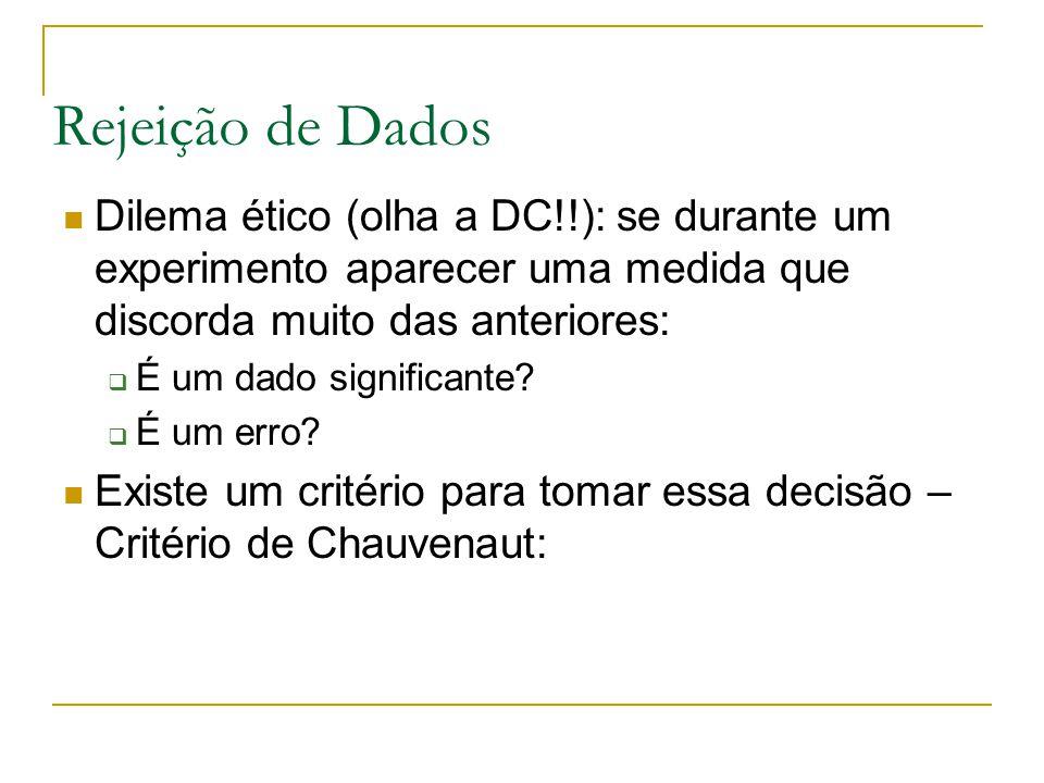 Rejeição de Dados Dilema ético (olha a DC!!): se durante um experimento aparecer uma medida que discorda muito das anteriores:  É um dado significant