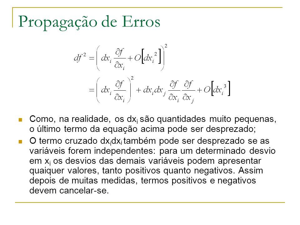Propagação de Erros Como, na realidade, os dx i são quantidades muito pequenas, o último termo da equação acima pode ser desprezado; O termo cruzado d
