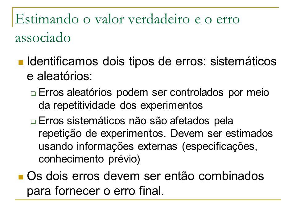 Estimando o valor verdadeiro e o erro associado Identificamos dois tipos de erros: sistemáticos e aleatórios:  Erros aleatórios podem ser controlados