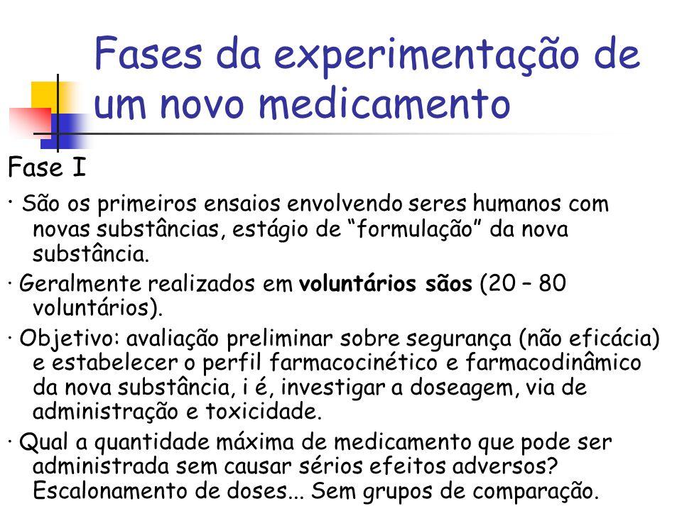 """Fases da experimentação de um novo medicamento Fase I · São os primeiros ensaios envolvendo seres humanos com novas substâncias, estágio de """"formulaçã"""