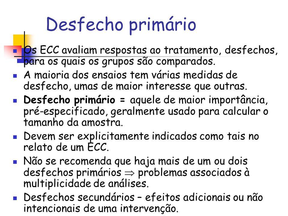 Desfecho primário Os ECC avaliam respostas ao tratamento, desfechos, para os quais os grupos são comparados. A maioria dos ensaios tem várias medidas