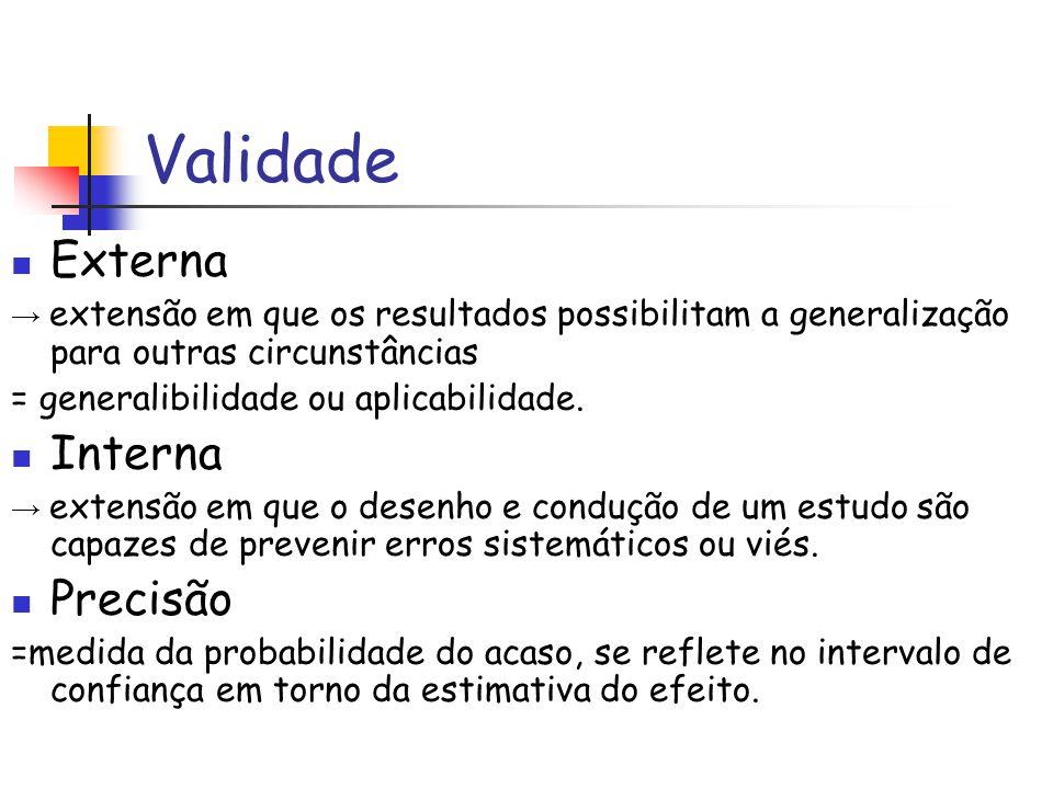 Validade Externa → extensão em que os resultados possibilitam a generalização para outras circunstâncias = generalibilidade ou aplicabilidade. Interna