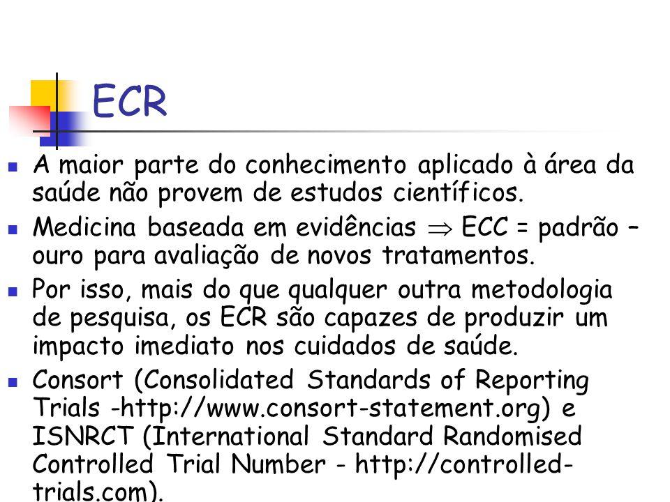 ECR A maior parte do conhecimento aplicado à área da saúde não provem de estudos científicos. Medicina baseada em evidências  ECC = padrão – ouro par