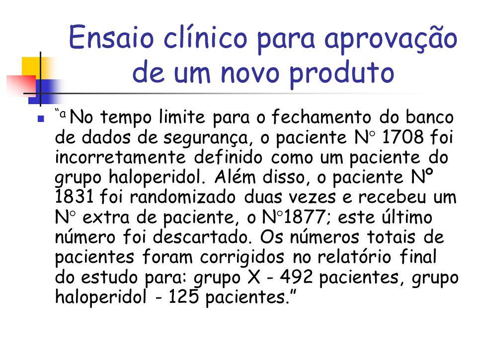 """Ensaio clínico para aprovação de um novo produto """"a No tempo limite para o fechamento do banco de dados de segurança, o paciente N  1708 foi incorret"""