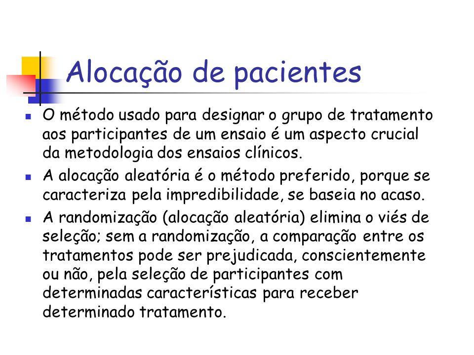 Alocação de pacientes O método usado para designar o grupo de tratamento aos participantes de um ensaio é um aspecto crucial da metodologia dos ensaio