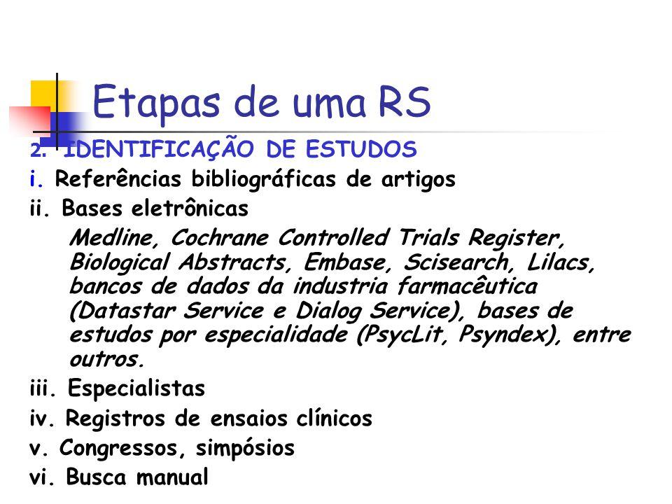 Etapas de uma RS 2. IDENTIFICAÇÃO DE ESTUDOS i. Referências bibliográficas de artigos ii. Bases eletrônicas Medline, Cochrane Controlled Trials Regist