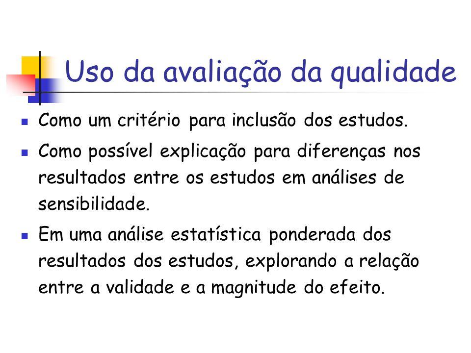 Uso da avaliação da qualidade Como um critério para inclusão dos estudos. Como possível explicação para diferenças nos resultados entre os estudos em