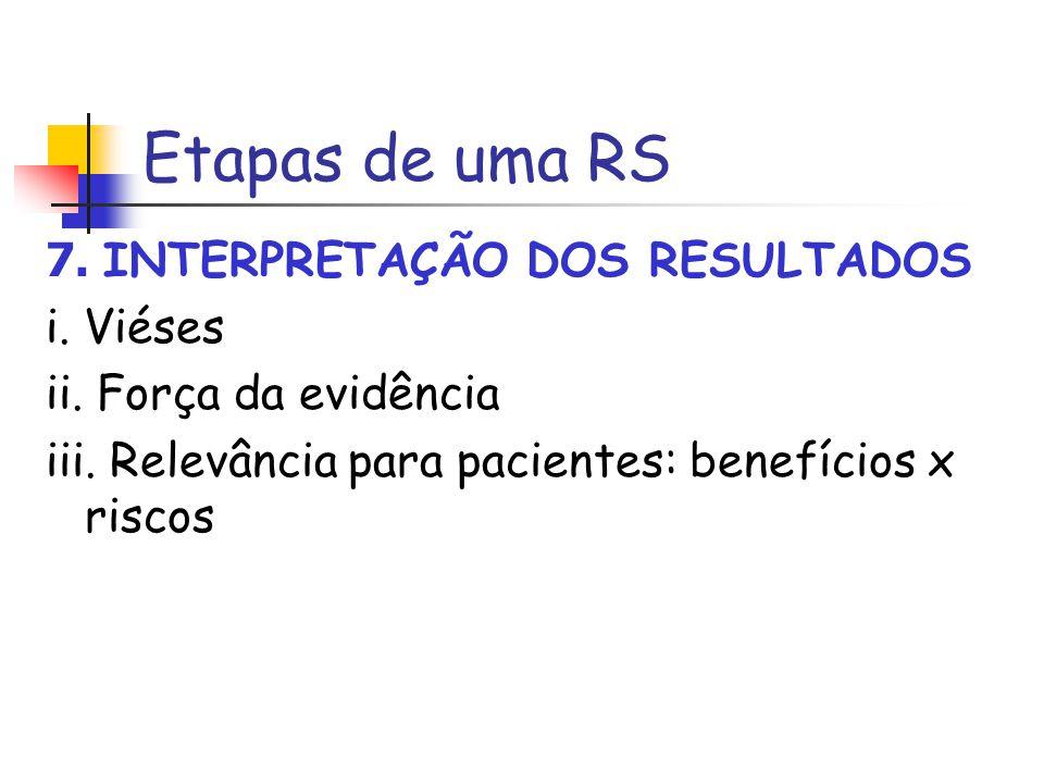Etapas de uma RS 7. INTERPRETAÇÃO DOS RESULTADOS i. Viéses ii. Força da evidência iii. Relevância para pacientes: benefícios x riscos