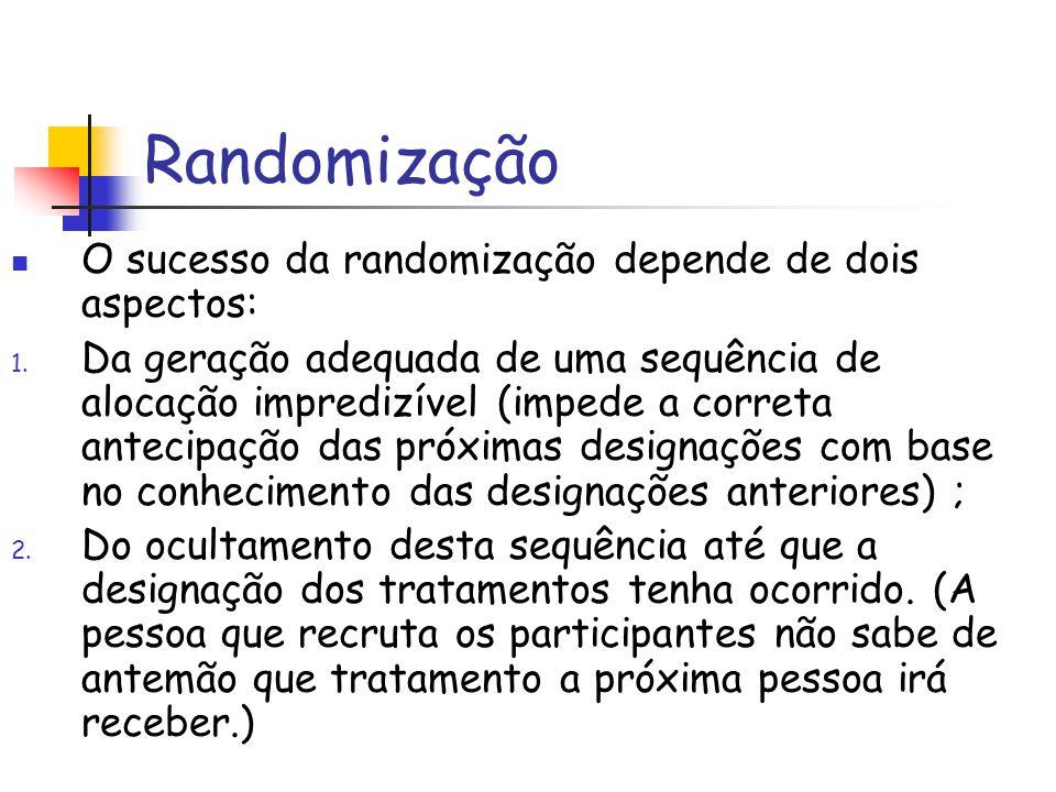 Randomização O sucesso da randomização depende de dois aspectos: 1. Da geração adequada de uma sequência de alocação impredizível (impede a correta an