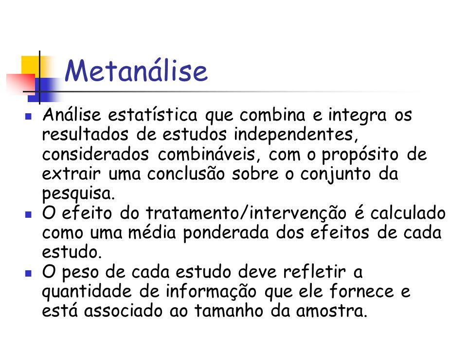 Metanálise Análise estatística que combina e integra os resultados de estudos independentes, considerados combináveis, com o propósito de extrair uma
