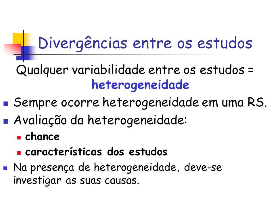 Divergências entre os estudos Qualquer variabilidade entre os estudos = heterogeneidade Sempre ocorre heterogeneidade em uma RS. Avaliação da heteroge
