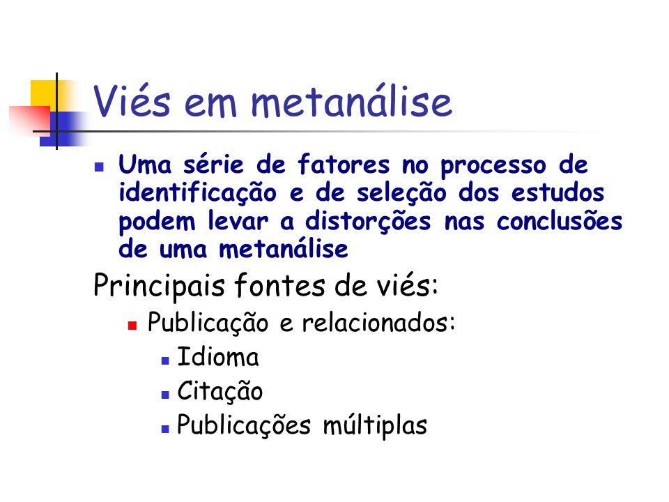 Viés em metanálise Uma série de fatores no processo de identificação e de seleção dos estudos podem levar a distorções nas conclusões de uma metanális