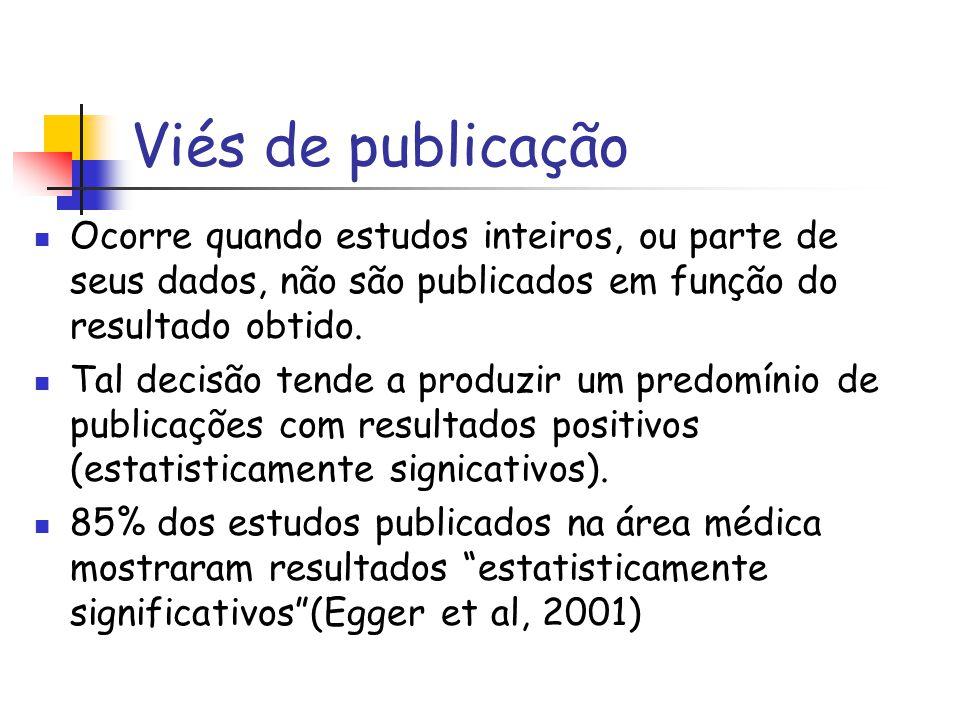 Viés de publicação Ocorre quando estudos inteiros, ou parte de seus dados, não são publicados em função do resultado obtido. Tal decisão tende a produ