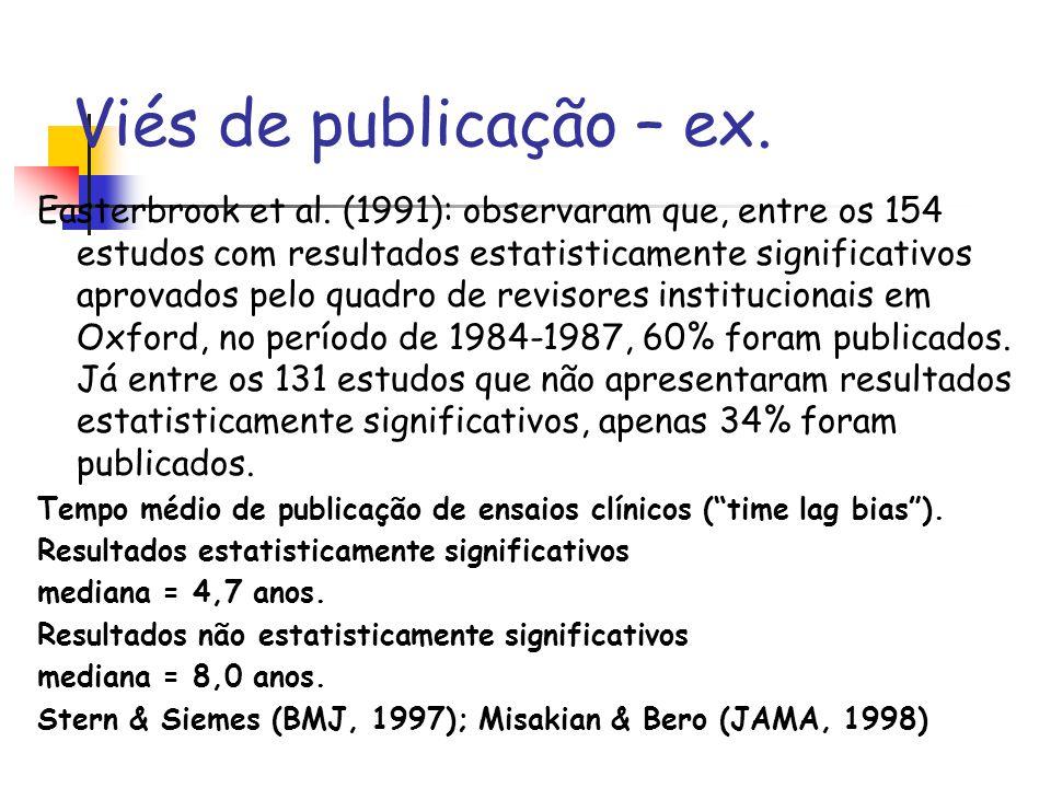 Viés de publicação – ex. Easterbrook et al. (1991): observaram que, entre os 154 estudos com resultados estatisticamente significativos aprovados pelo
