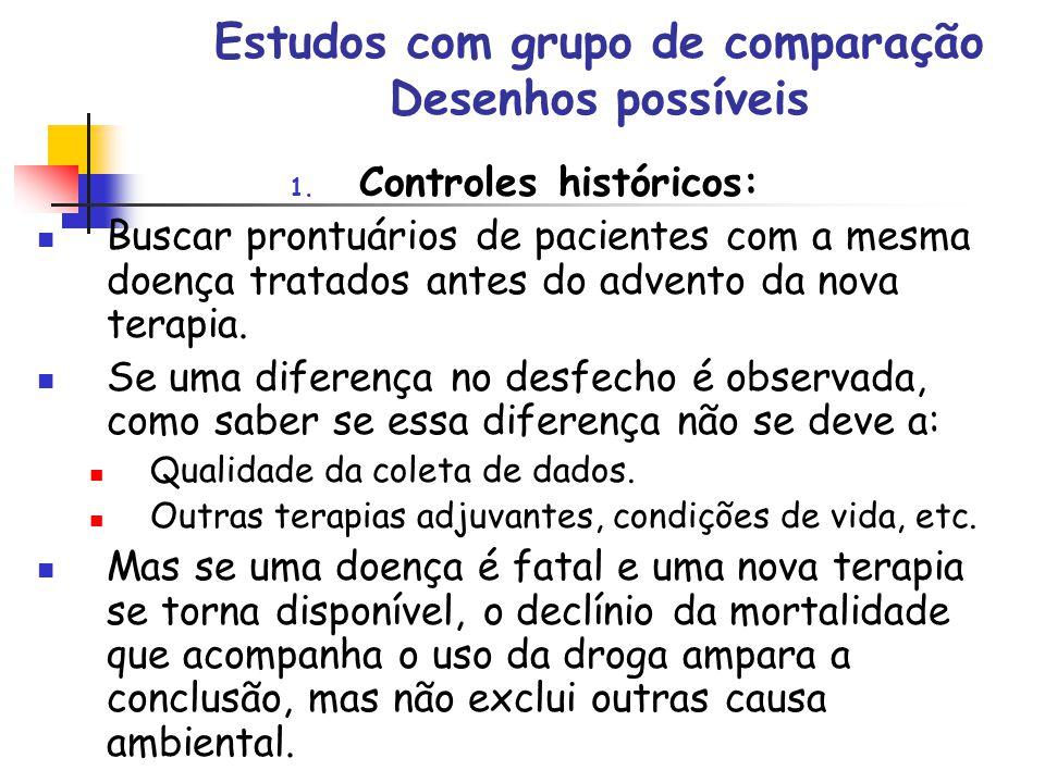 Estudos com grupo de comparação Desenhos possíveis 1. Controles históricos: Buscar prontuários de pacientes com a mesma doença tratados antes do adven