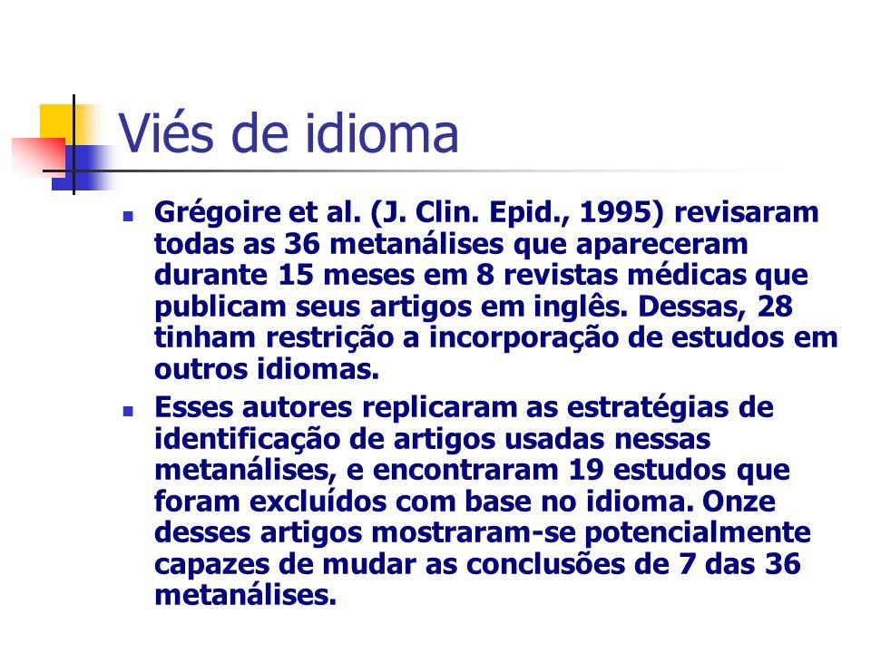Viés de idioma Grégoire et al. (J. Clin. Epid., 1995) revisaram todas as 36 metanálises que apareceram durante 15 meses em 8 revistas médicas que publ